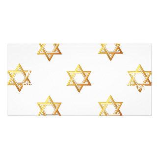étoile de David d or à trois dimensions Cartes De Vœux Avec Photo