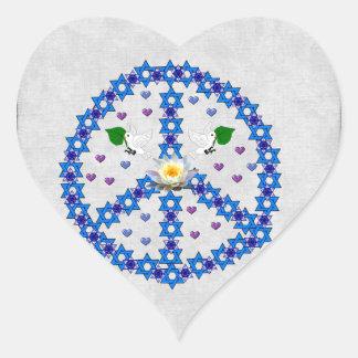 Étoile de David de paix Autocollants En Cœur