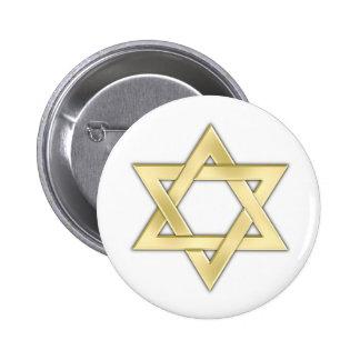 Étoile de David d'or Badge Rond 5 Cm