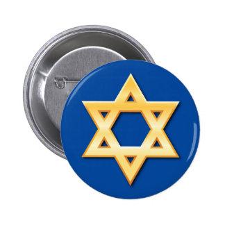 Étoile de David d'or sur le bouton bleu d'arrière  Badge Rond 5 Cm