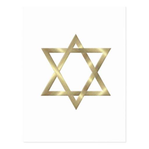 Étoile de David en or brillant Cartes Postales
