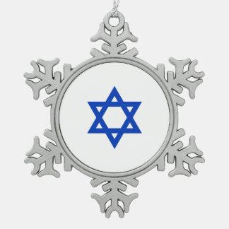 Étoile de David israélienne Ornement Flocon De Neige Pewter