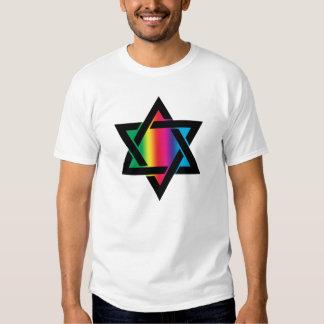 Étoile de David juive d'arc-en-ciel T-shirts