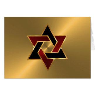 Étoile de David noire rouge d'or de Mitzvah de Cartes De Vœux