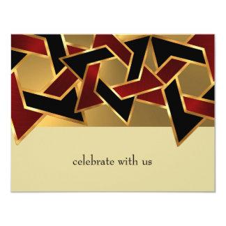 Étoile de David noire rouge d'or de Mitzvah de Carton D'invitation 10,79 Cm X 13,97 Cm