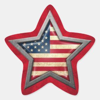 Étoile de drapeau américain avec des rayons de stickers en étoile