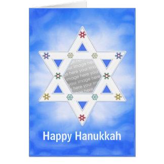 Étoile de Hanoukka et bleu de flocons de neige Carte De Vœux