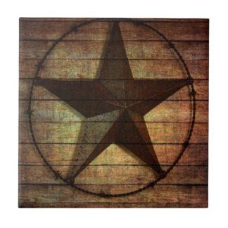 Étoile de Texas en bois de grange primitive de Petit Carreau Carré