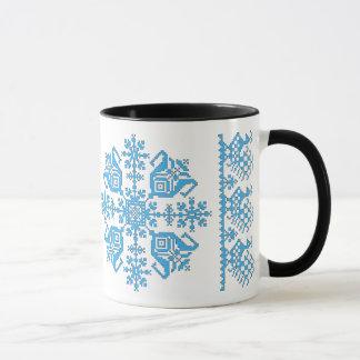 Étoile de tulipe avec la tasse de paons (bleu et