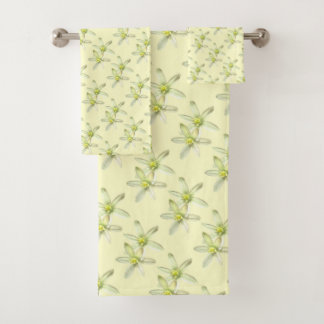 Étoile des serviettes florales jaunes de Bath de