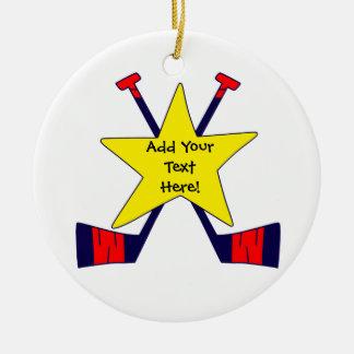 Étoile d'hockey - ajoutez votre propre texte ! ornement rond en céramique