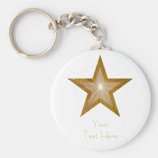 """Étoile d'or blanc de porte - clé des """"vos textes"""" porte-clé rond"""