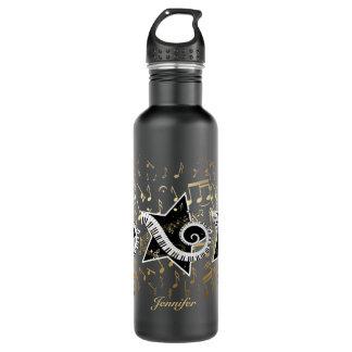 Étoile d'or personnalisée de notes musicales bouteille d'eau en acier inoxydable