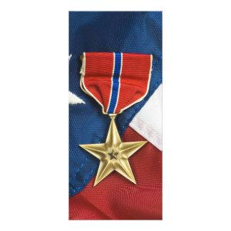 Étoile en bronze sur le drapeau américain double cartes customisées