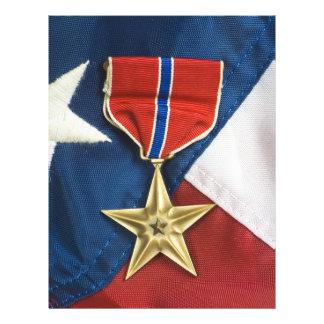 Étoile en bronze sur le drapeau américain prospectus 21,6 cm x 24,94 cm