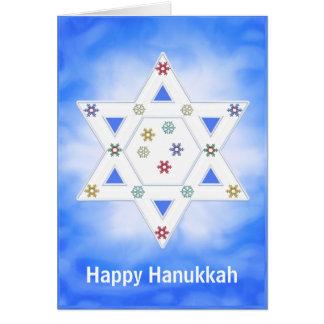 Étoile et flocons de neige de Hanoukka bleus Carte De Vœux
