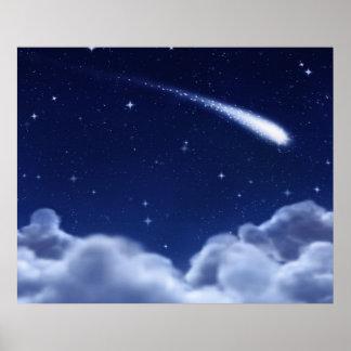 Étoile filante au-dessus de l'affiche de nuages -  poster