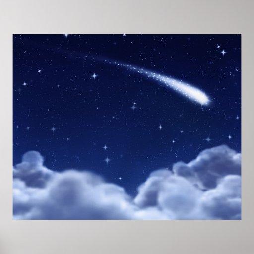 Étoile filante au-dessus de l'affiche de nuages -