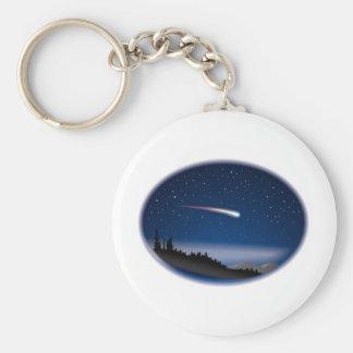 Étoile filante au-dessus de paysage de nuit porte-clés