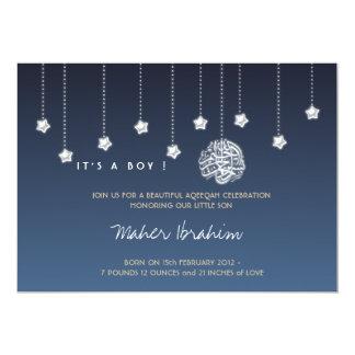 Étoile islamique de ciel nocturne de bébé d'Aqiqah Carton D'invitation 12,7 Cm X 17,78 Cm