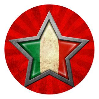 Étoile italienne de drapeau avec des rayons de faire-parts