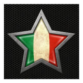 Étoile italienne de drapeau avec l effet en acier invitation personnalisable