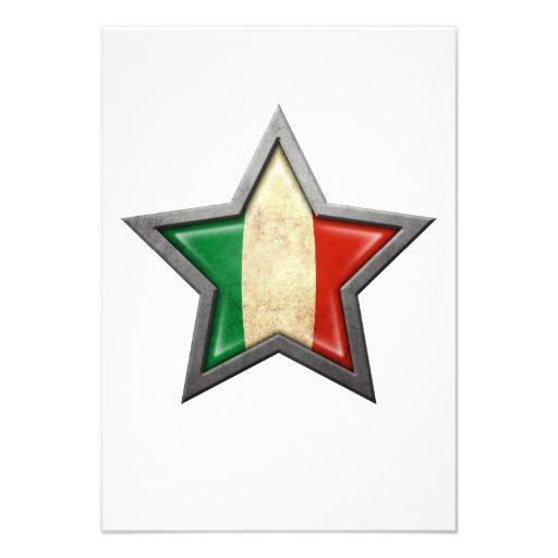 Étoile italienne de drapeau cartons d'invitation