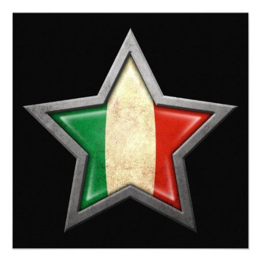 Étoile italienne de drapeau sur le noir cartons d'invitation personnalisés