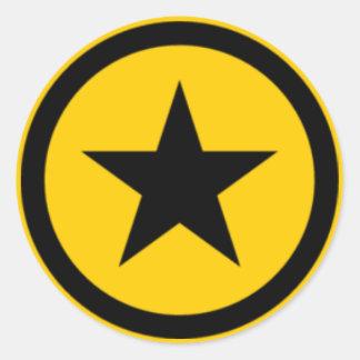 étoile jaune autocollant rond