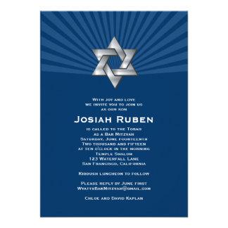 Étoile juive argentée de Josiah d invitation de Mi