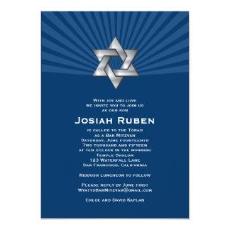 Étoile juive argentée de Josiah d'invitation de Carton D'invitation 12,7 Cm X 17,78 Cm
