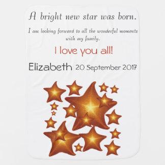 Étoile lumineuse de soleil une nouvelle était née couvertures pour bébé