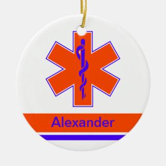 Étoile orange et bleue d'ambulance faite sur ornement rond en céramique