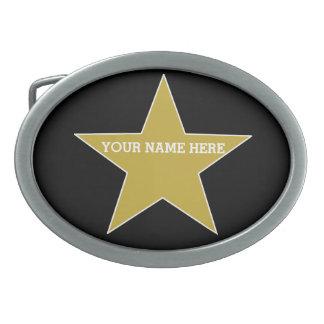 Étoile personnalisable d'or boucle de ceinture ovale