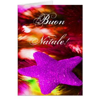 Étoile pourpre de Noël de Buon Natale de Noël III Carte De Vœux