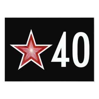 """Étoile rouge """"40"""" noir d'invitation d'anniversaire"""