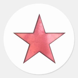 étoile rouge autocollants ronds