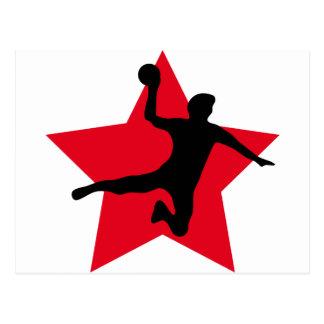 étoile rouge de handball carte postale