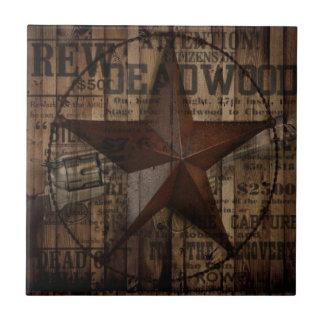 Étoile solitaire en bois du Texas de pays Petit Carreau Carré