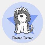 Étoile Terrier tibétain de Kawaii Adhésifs Ronds