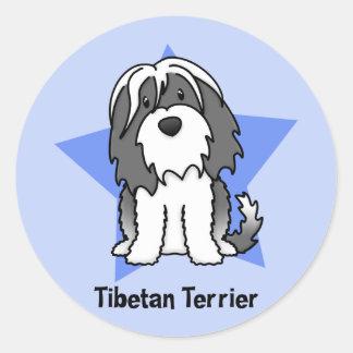 Étoile Terrier tibétain de Kawaii Sticker Rond