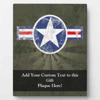 Étoile vintage de corps d'air d'armée patriotique plaque d'affichage