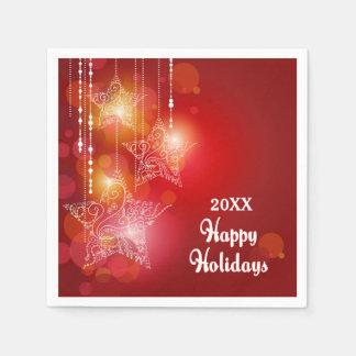 Étoiles accrochantes de lueur de Noël Serviette Jetable