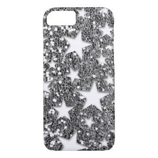 Étoiles blanches sur le regard argenté de coque iPhone 7