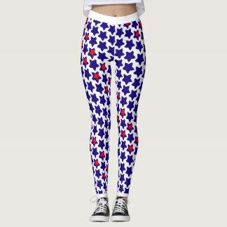 Étoiles bleues blanches rouges tordues leggings
