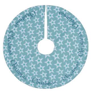 Étoiles bleues et argentées de Noël Jupon De Sapin En Polyester Brossé