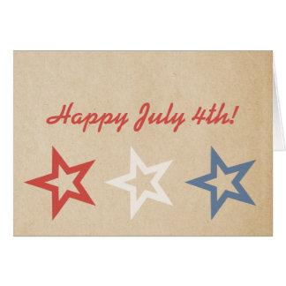 Étoiles carte de voeux chic simple du 4 juillet