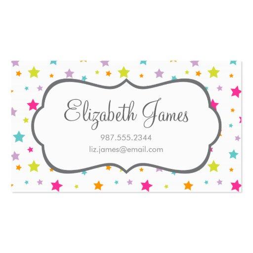 Étoiles colorées lumineuses mignonnes cartes de visite personnelles
