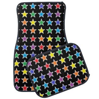 Étoiles d'arc-en-ciel décrites par blanc tapis de voiture