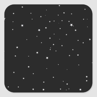 Étoiles de blanc sur le noir sticker carré